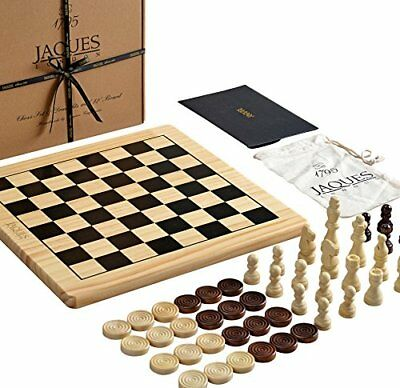 Jaques of London Chess Set with Board Inc. Draughts Pieces - A Chess and Checker