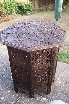 Antique Indian Octagonal Side Table Folding Carved with Vine Leaves 54cms High
