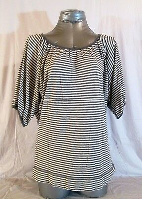 bc0e924bf8 EXPRESS womens Small petite 3 4 SLEEVE GRAY WHITE STRIPED TOP BLOUSE (B)