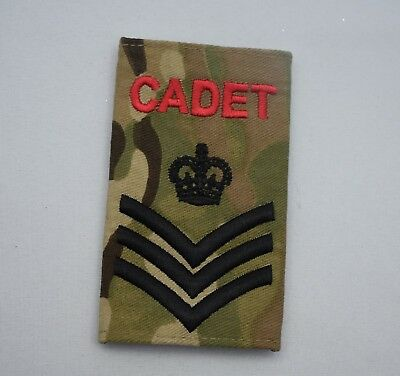 Army Cadet Force ACF Cadet Rank Slide in Multicam MTP - ALL RANKS AVAILABLE