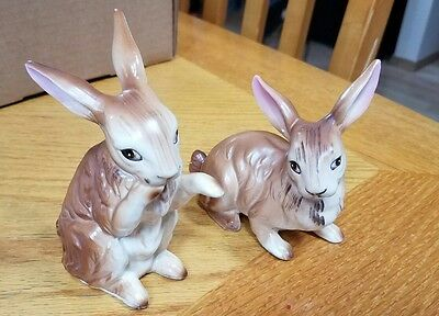 Vintage Brown BUNNIES Norcrest Porcelain Cute Peter Rabbit Easter Set of 2 Japan