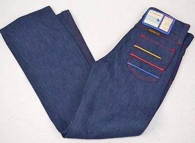 Vtg Young MAVERICK Denim BLUE JEANS Red Stitch Embroidered Stripes 6 Slim USA