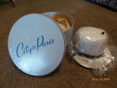"1967  -City Of Paris Round Hat Box Cardboard 12"" - Leslie James Straw Hat & Pin"