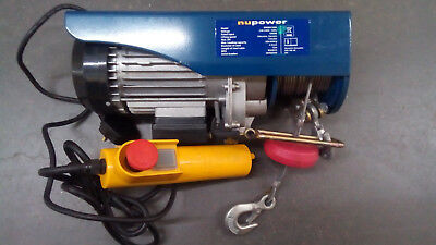 NuPower 1000W 200/400Kg Electric Hoist - COLLECTION ONLY