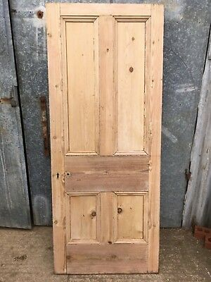 "32 1/4""x78 3/8"" Victorian Stripped Pine Four Panel 2 Over 2 Narrow Internal Door"
