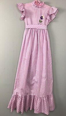 Vtg Sears Winnie the Pooh Maxi Dress Purple Check Gingham Pansy Embroidered Sz 8