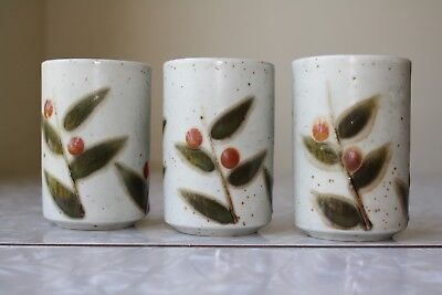 THREE Otagiri Japan Stoneware Tumblers in Bittersweet Berries & Leaves VERY NICE