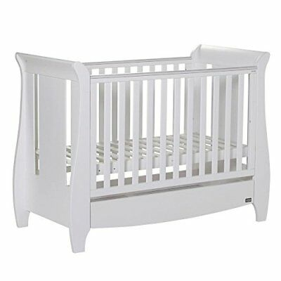 Tutti Bambini Katie White Sleigh Mini Cot Bed - Converts from Cot Bed to Toddler