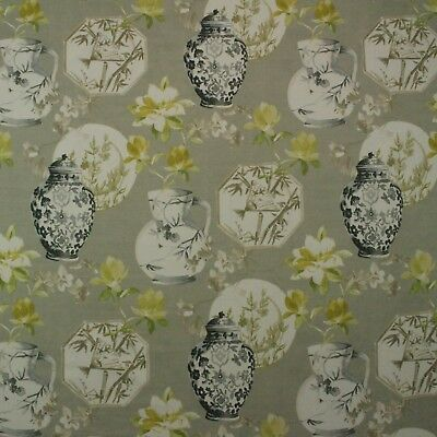 "Richloom Ceramica Porcelain Gray Asian Vases Pottery Cotton Fabric By Yard 54""w"