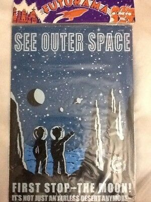 Futurama Tin Sign First Stop -The Moon Sealed In Original Packaging See Pics