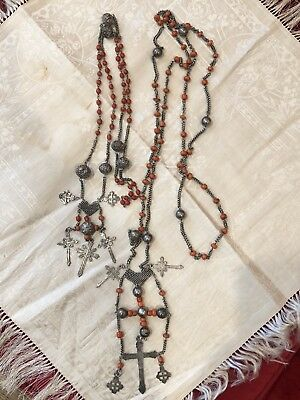 Rare Pair Antique 18th Century Spanish Coral & Silver Rosaries Rosary His & Hers