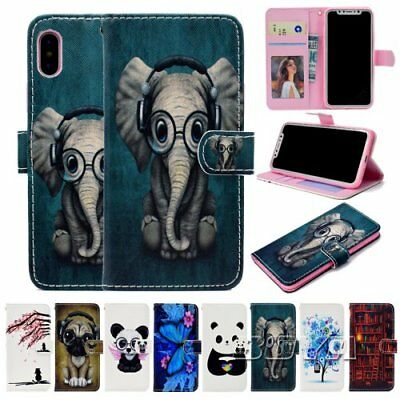 For iPhone Stand cover Cute magnetic Pattern PU leather flip wallet Phone case