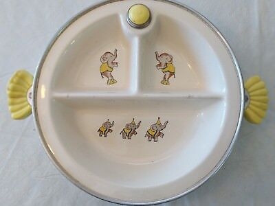 Vintage Majestic Ceramic And Metal Hot water heated baby dish
