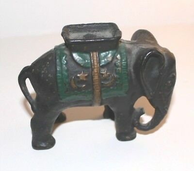 Old Still Cast Iron Bank Elephant with Howdah