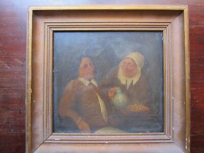 Antique early 19th century small dutch or flemish tavern scene oil on wood panel
