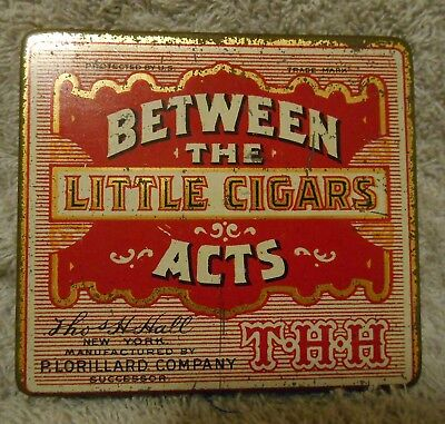 Vintage Between the Acts Little Cigars Hinged Tin Thomas H Hall Lorillard Co