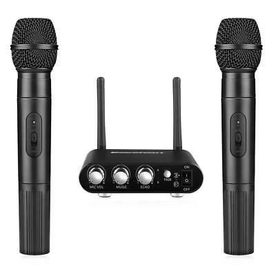 2 Mic Pro UHF Wireless Microphone Set with Receiver System for Home Karaoke NEW