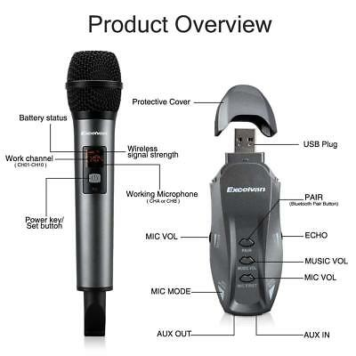 Wireless Bluetooth Karaoke Microphone Adjustable Speaker Mixer Stereo Mic NEW
