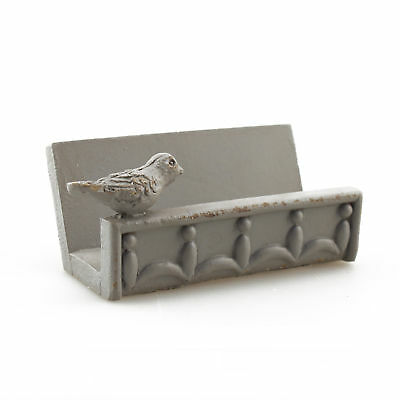 Grey Business Card Holder With Bird Accent