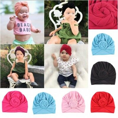 Newborn Baby Kids Cotton Turban Knot Soft Bunny Ear Hat Head Wrap Hair Headband