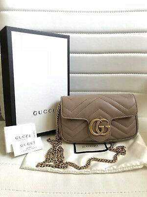 6be6c52cb333 Brand New Gucci Marmont Matelasse Leather Super Mini Bag - Dusty Pink