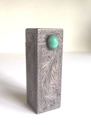 Vintage Etched Italian 800 Sterling Silver & Turquoise Lipstick Case w/ Mirror