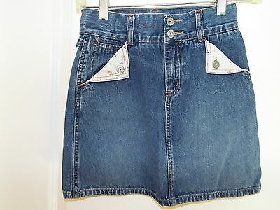 Gap Kids Girls Blue Denim Skirt Size 8 Adjustable Waist With Designed Pockets