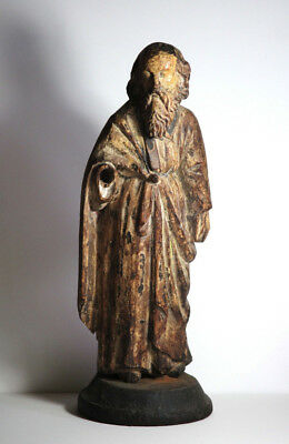 Antique 17th Century Spanish Carved Saint Wood Figure Polychrome Sculpture
