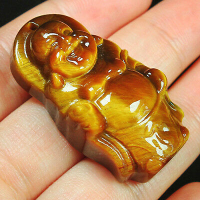104CT 100% Natural Unique African Tigereye Buddha Carving Pendant UCFH55