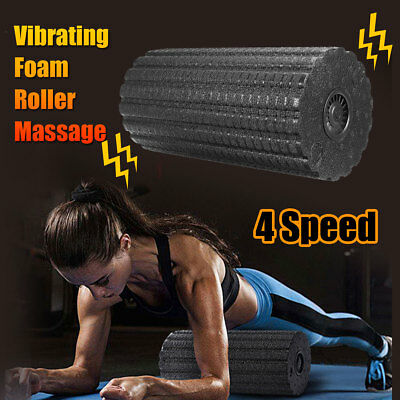 AU Electric 4 Speed Vibrating Foam Roller Yoga Massage Body Muscle Relax Fitness