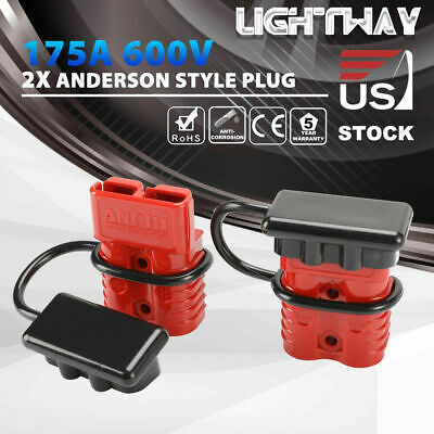 Anderson Plug 175A 600V Quick Connector w/ Dust Cover Power Charger SB175 Red
