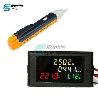 AC Voltage Power Detector AC80-300V 100A LCD Voltmeter Ammeter Amp Kwh Meter CT