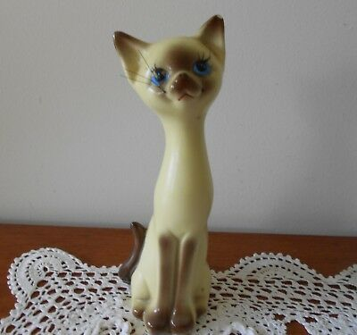VINTAGE ORIGINAL LONG NECK SIAMESE CAT SALT SHAKER RETRO C1970s