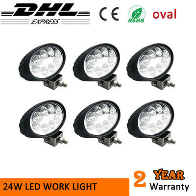 6x 24W LED Work Light Oval Flood beam For Audi JEEP Truck Forklift Lighting 12V
