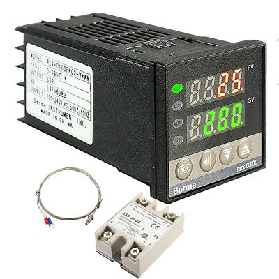Digital REX-C100 AC PID Temperature Controller + Max.40A SSR + K Probe Sensor UK