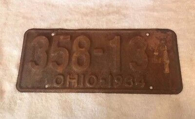 Vintage 1934 Ohio License Plate Ends In 34 Rusty