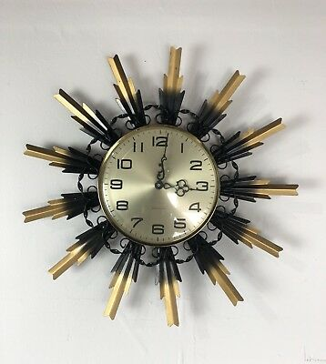 Retro Westclox Wall Hanging Sunburst Clock, Made In Scotland AT27
