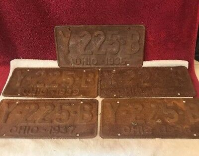 Vintage Lot Of 5 Ohio License Plates Y•255•B Different Years Early-Mid 1930s