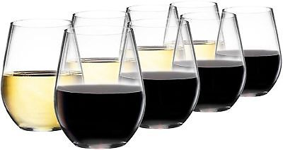 Premium Quality Stemless Wine Glasses Pack Of 8 | White or Red Wine Glasses