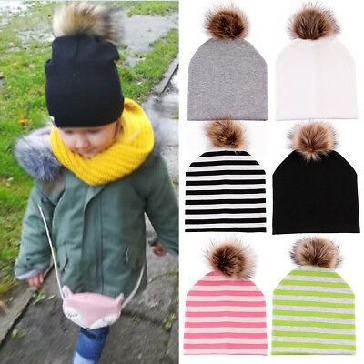 Toddler Kids Girl&Boy Baby Infant Winter Warm Fur Pom Hat Soft Cotton Beanie Cap