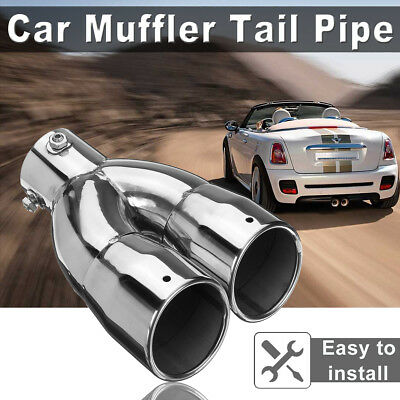 "76mm 3"" Universal Car Inlet Stainless Steel Dual Exhaust Tail Pipe Tip Muffler"