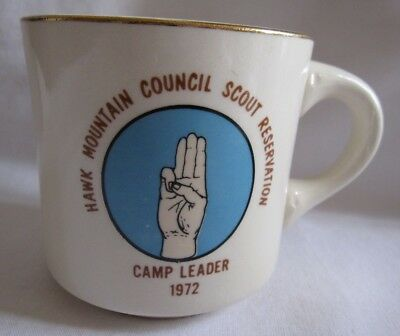 VTG BSA Hawk Mountain Scout Coffee Mug Cup Schuykill Haven PA Camp Leader 1972