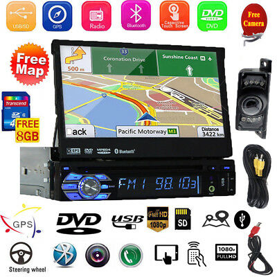 "Bluetooth 7"" Bildschirm Autoradio Mit Dvd Cd Navigation Navi Gps Usb Sd Mp3 1Din"