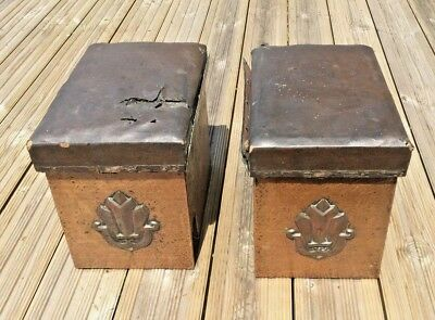 Pair of arts & crafts copper clad fireside boxes with seats for re-upholstery