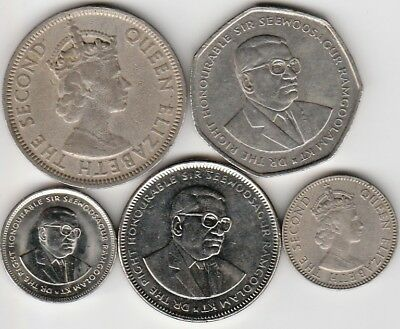 5 different world coins from MAURITIUS