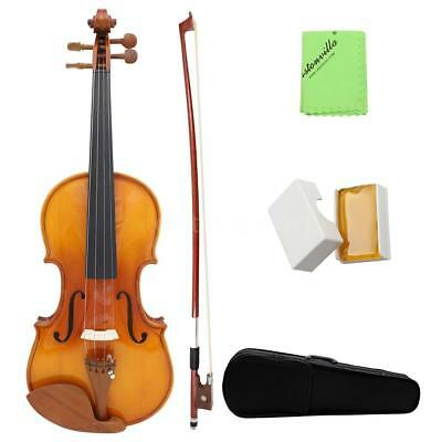 Full Size 4/4 Natural Acoustic Solid Wood Fiddle Violin + Case Rosin Wiper H3W5