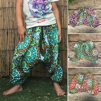 Childrens kids girls boys harem pants baggy hippie hippy boho trousers 1-7 years