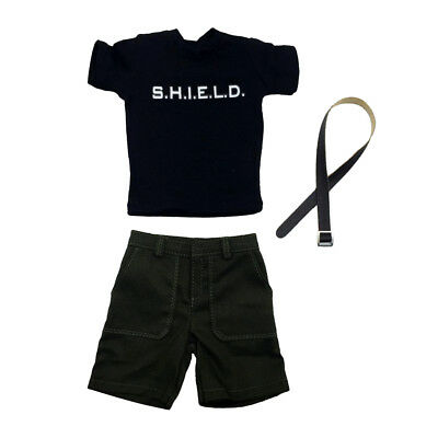 """1/6 Scale Male Suit T-Shirt Shorts Belt Clothing Set for 12"""" Hot Toys Body"""