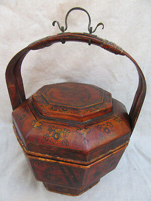 Vintage Chinese Food Basket Picnic Basket Signed And Dated