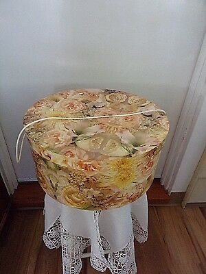 """Round Hat Box -Yellow Roses~15""""~Carry Cord~VGUC~Vintage~"""